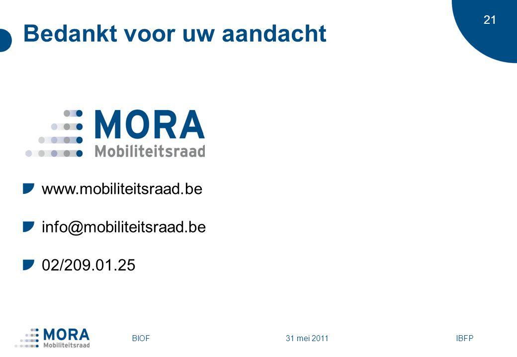 21 Bedankt voor uw aandacht www.mobiliteitsraad.be info@mobiliteitsraad.be 02/209.01.25 BIOFIBFP 31 mei 2011