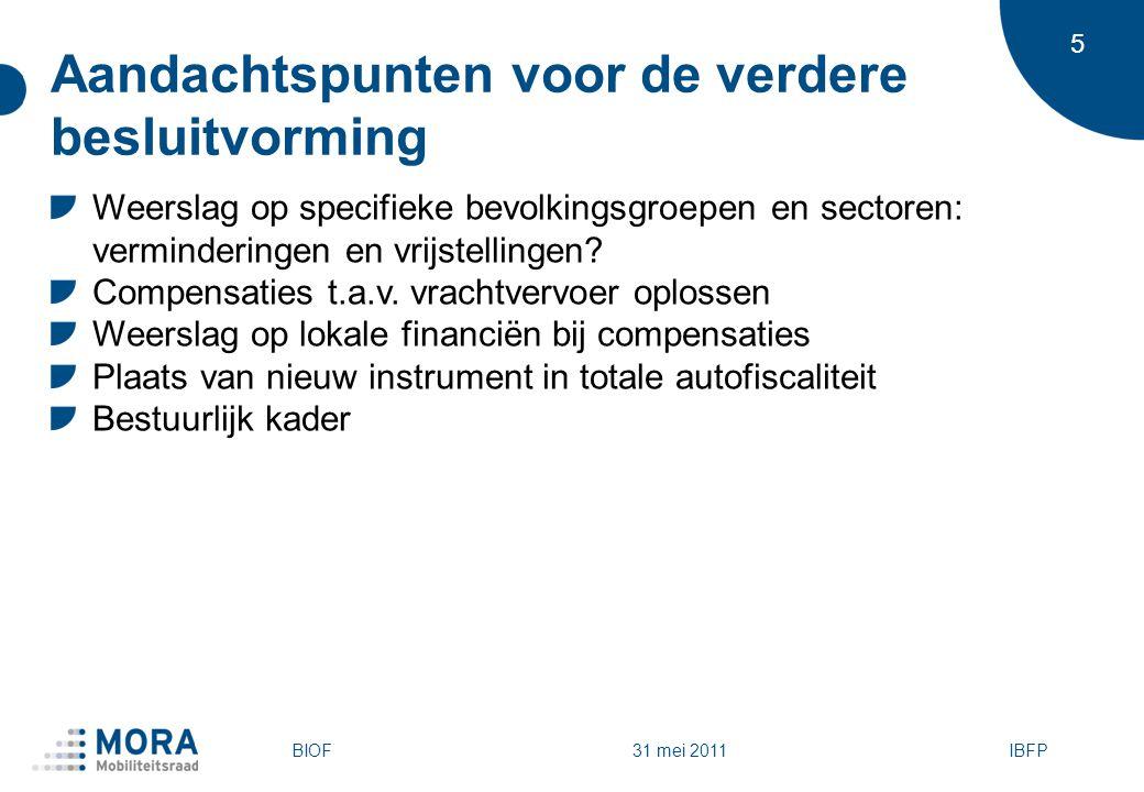 6 2009: Nieuwe Vlaamse plannen voor een kilometerheffing Vlaams regeerakkoord 2009-2014 De Vlaamse regering zal een kilometerheffing voor het vrachtvervoer over de weg invoeren met als streefdatum 2013 Kenmerken Voertuigen > 3,5 ton Volledig wegennet Uitgangspunten tarifering: tijdstip, locatie, rijrichting en statistische voertuigkenmerken Voorstel voor het Vlaams Gewest IBFPBIOF 31 mei 2011