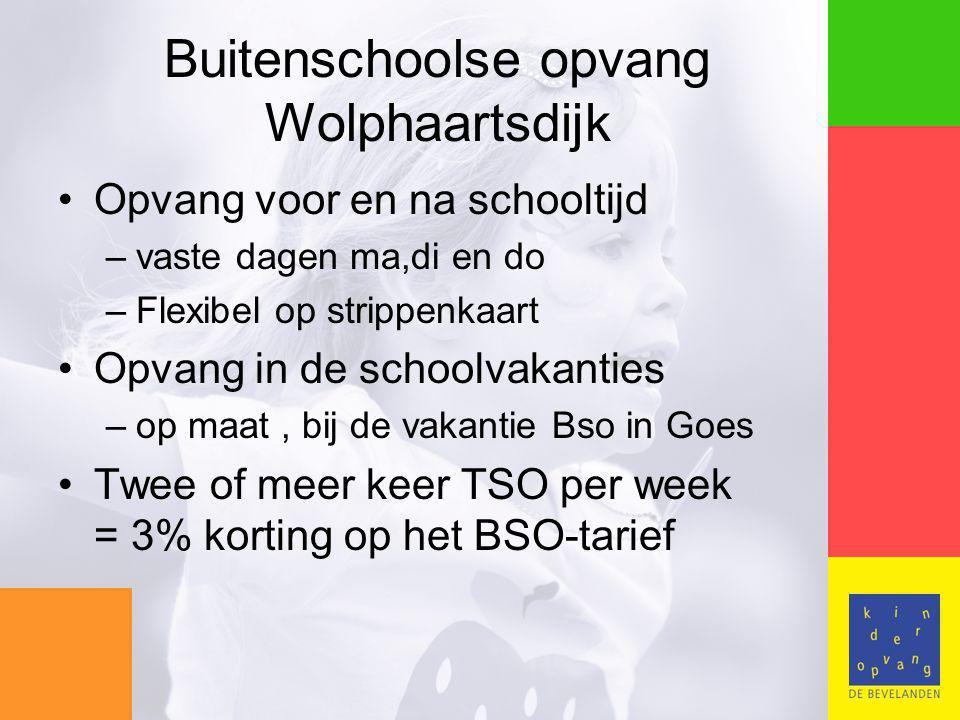 Buitenschoolse opvang Wolphaartsdijk Opvang voor en na schooltijd –vaste dagen ma,di en do –Flexibel op strippenkaart Opvang in de schoolvakanties –op maat, bij de vakantie Bso in Goes Twee of meer keer TSO per week = 3% korting op het BSO-tarief