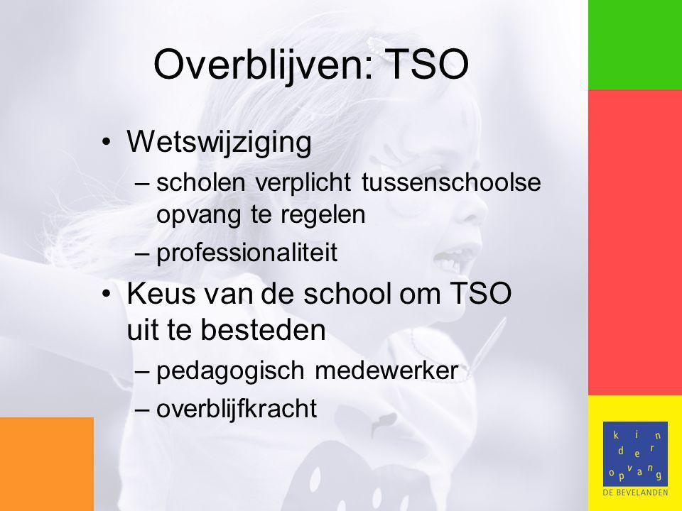 Overblijven: TSO Wetswijziging –scholen verplicht tussenschoolse opvang te regelen –professionaliteit Keus van de school om TSO uit te besteden –pedagogisch medewerker –overblijfkracht
