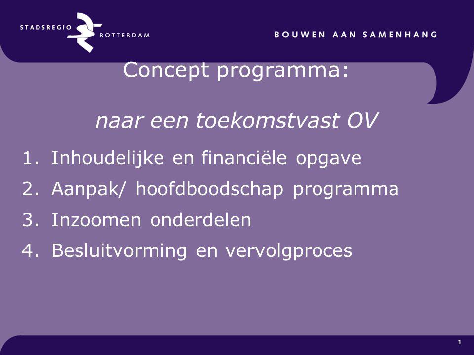 1 Concept programma: naar een toekomstvast OV 1.Inhoudelijke en financiële opgave 2.Aanpak/ hoofdboodschap programma 3.Inzoomen onderdelen 4.Besluitvo