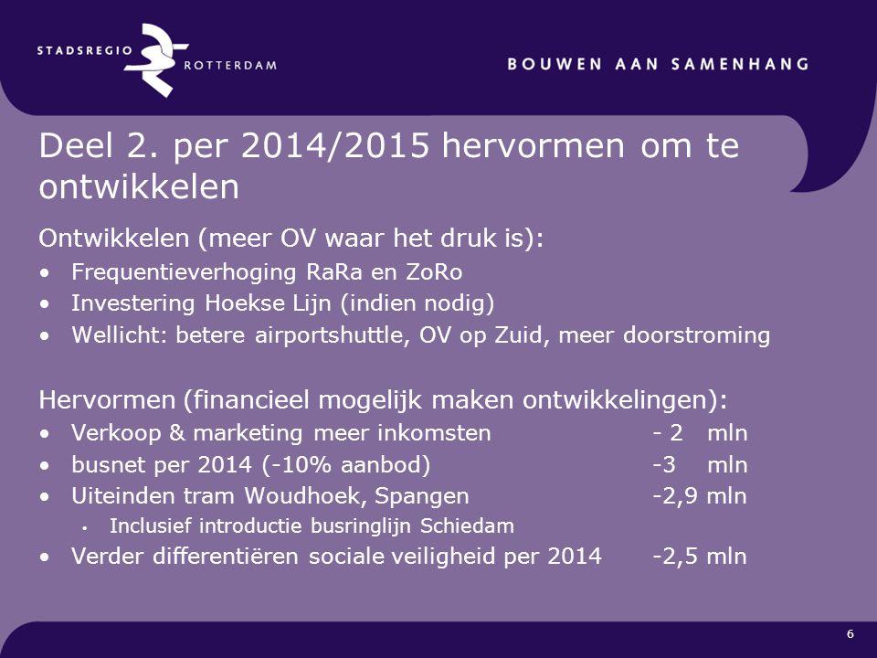 6 Deel 2. per 2014/2015 hervormen om te ontwikkelen Ontwikkelen (meer OV waar het druk is): Frequentieverhoging RaRa en ZoRo Investering Hoekse Lijn (