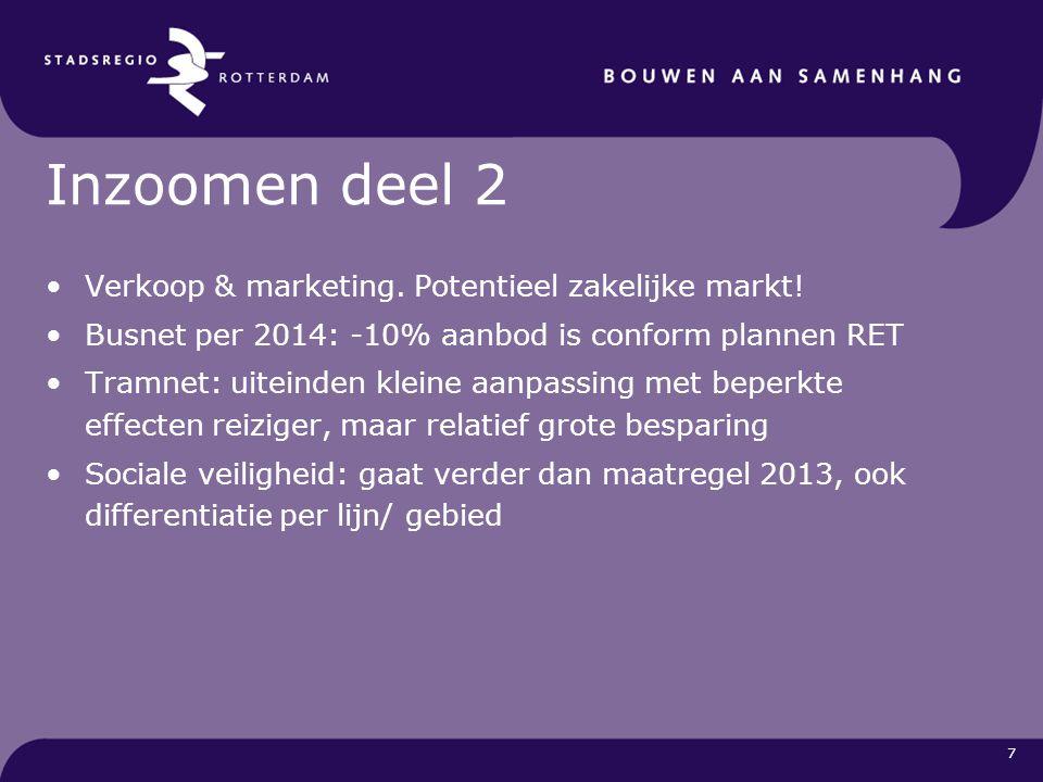 7 Inzoomen deel 2 Verkoop & marketing. Potentieel zakelijke markt! Busnet per 2014: -10% aanbod is conform plannen RET Tramnet: uiteinden kleine aanpa