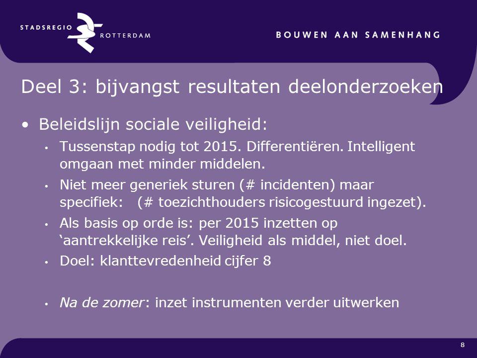 8 Deel 3: bijvangst resultaten deelonderzoeken Beleidslijn sociale veiligheid: Tussenstap nodig tot 2015. Differentiëren. Intelligent omgaan met minde