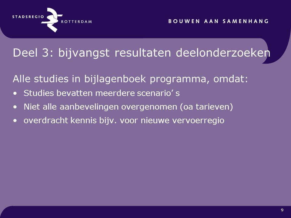 9 Deel 3: bijvangst resultaten deelonderzoeken Alle studies in bijlagenboek programma, omdat: Studies bevatten meerdere scenario' s Niet alle aanbevel