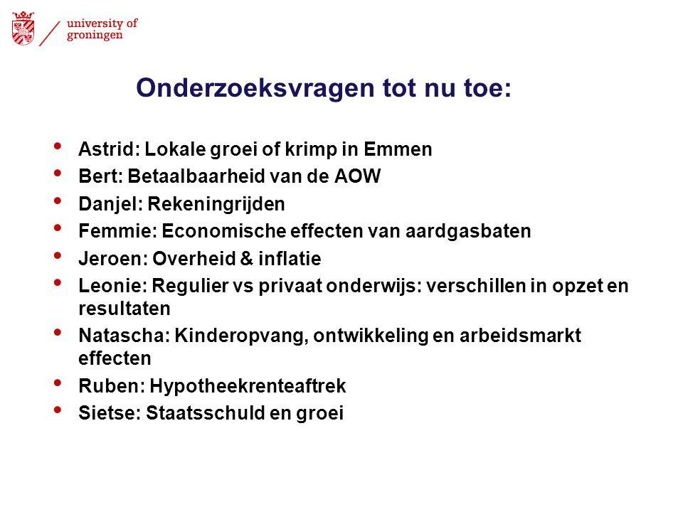 Onderzoeksvragen tot nu toe: Astrid: Lokale groei of krimp in Emmen Bert: Betaalbaarheid van de AOW Danjel: Rekeningrijden Femmie: Economische effecte