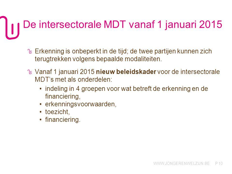 WWW.JONGERENWELZIJN.BE P De intersectorale MDT vanaf 1 januari 2015 Erkenning is onbeperkt in de tijd; de twee partijen kunnen zich terugtrekken volge