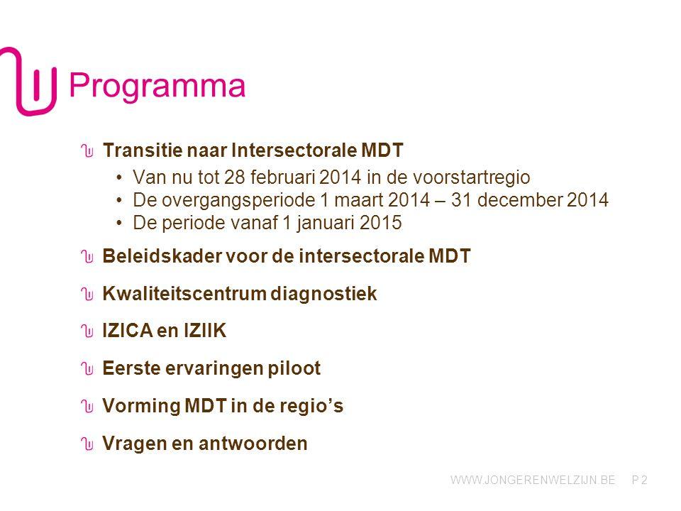 WWW.JONGERENWELZIJN.BE P Programma Transitie naar Intersectorale MDT Van nu tot 28 februari 2014 in de voorstartregio De overgangsperiode 1 maart 2014