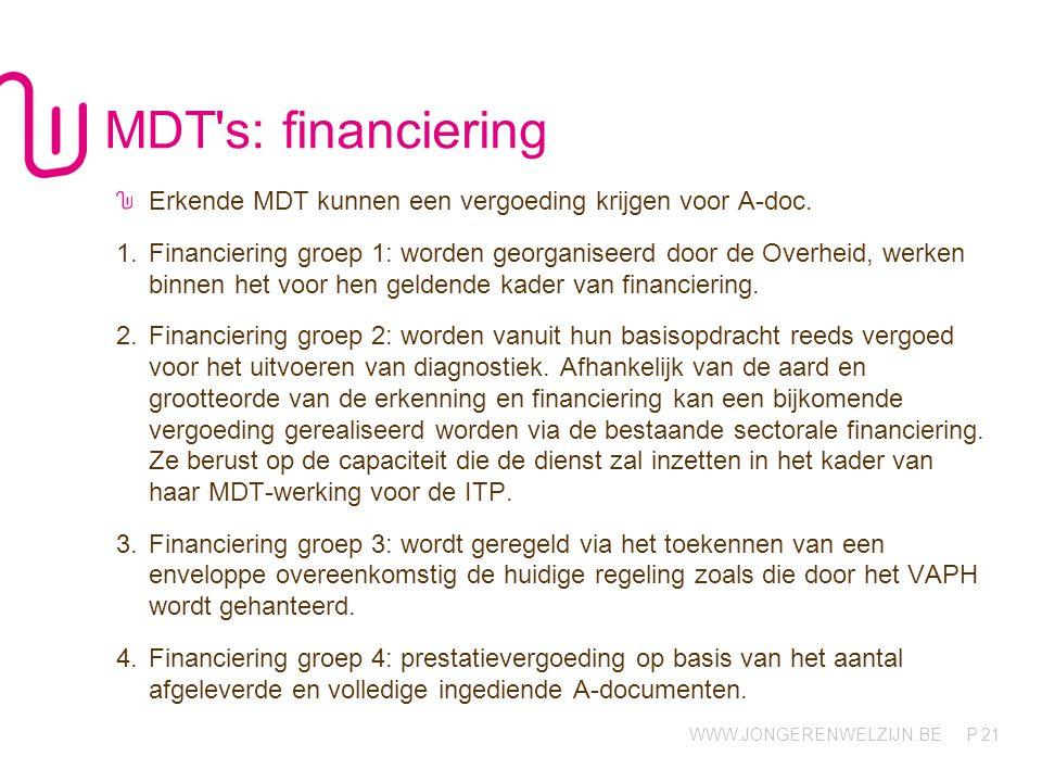 WWW.JONGERENWELZIJN.BE P MDT's: financiering Erkende MDT kunnen een vergoeding krijgen voor A-doc. 1.Financiering groep 1: worden georganiseerd door d