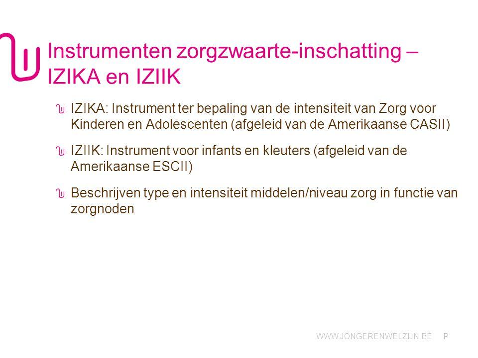 WWW.JONGERENWELZIJN.BE P Instrumenten zorgzwaarte-inschatting – IZIKA en IZIIK IZIKA: Instrument ter bepaling van de intensiteit van Zorg voor Kindere