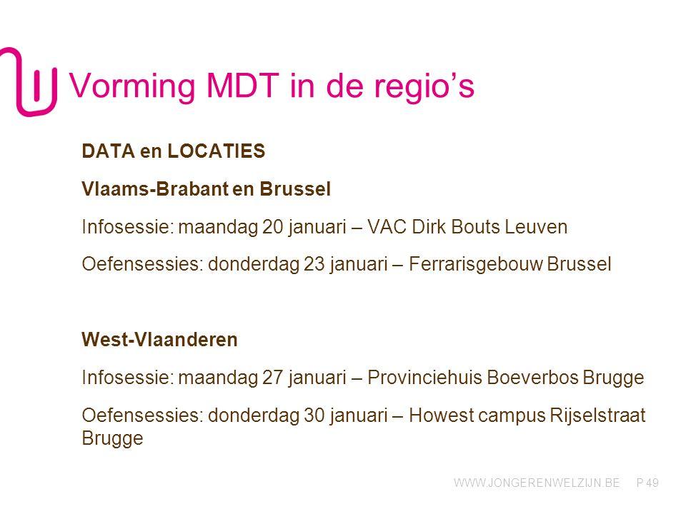 WWW.JONGERENWELZIJN.BE P Vorming MDT in de regio's DATA en LOCATIES Vlaams-Brabant en Brussel Infosessie: maandag 20 januari – VAC Dirk Bouts Leuven O