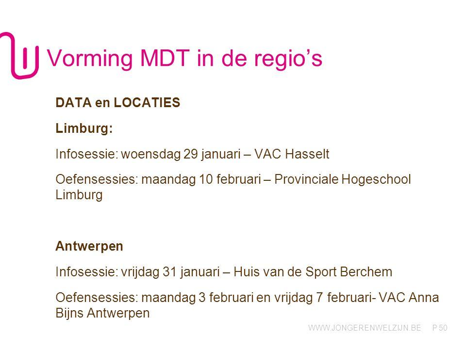 WWW.JONGERENWELZIJN.BE P Vorming MDT in de regio's DATA en LOCATIES Limburg: Infosessie: woensdag 29 januari – VAC Hasselt Oefensessies: maandag 10 fe