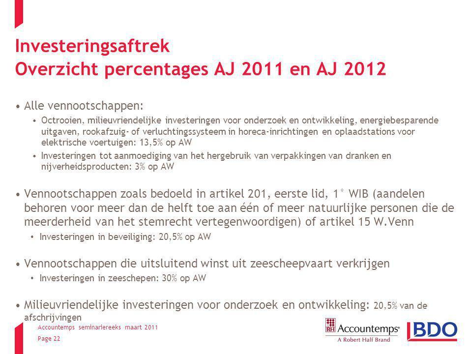 Accountemps seminariereeks maart 2011 Page 22 Investeringsaftrek Overzicht percentages AJ 2011 en AJ 2012 Alle vennootschappen: Octrooien, milieuvrien