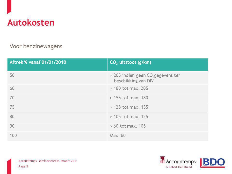 Accountemps seminariereeks maart 2011 Page 5 Autokosten Voor benzinewagens Aftrek % vanaf 01/01/2010CO 2 uitstoot (g/km) 50> 205 indien geen CO 2 gegevens ter beschikking van DIV 60> 180 tot max.