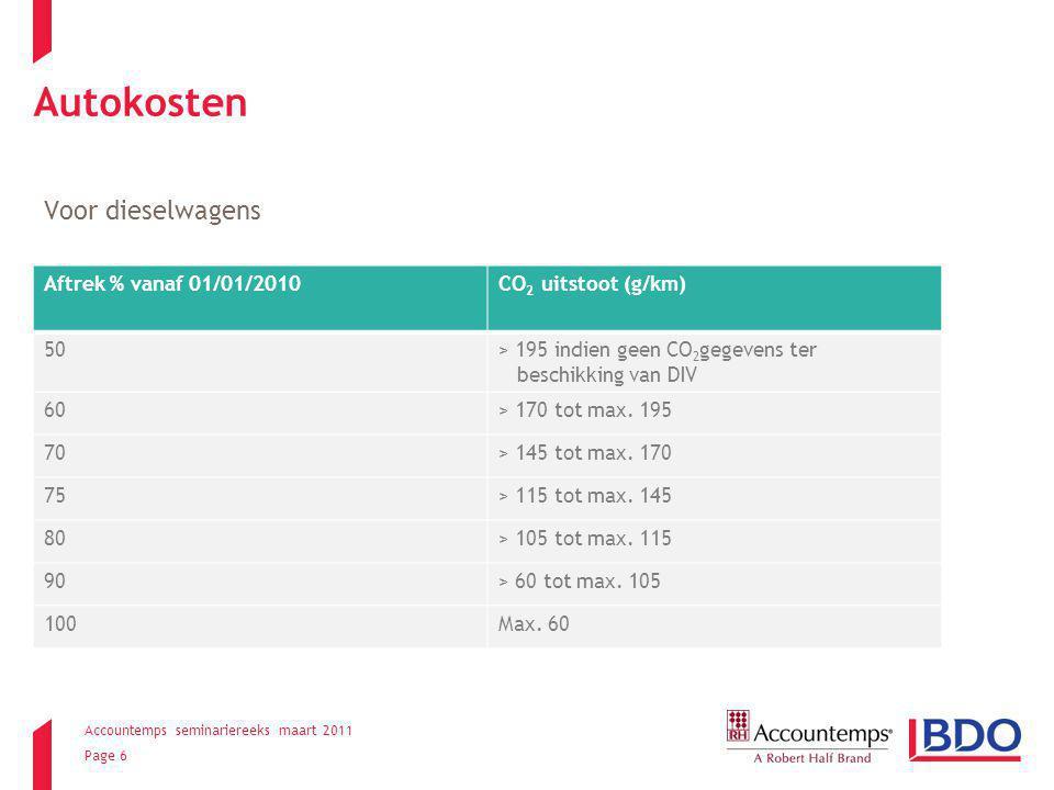 Accountemps seminariereeks maart 2011 Page 6 Autokosten Voor dieselwagens Aftrek % vanaf 01/01/2010CO 2 uitstoot (g/km) 50> 195 indien geen CO 2 gegevens ter beschikking van DIV 60> 170 tot max.