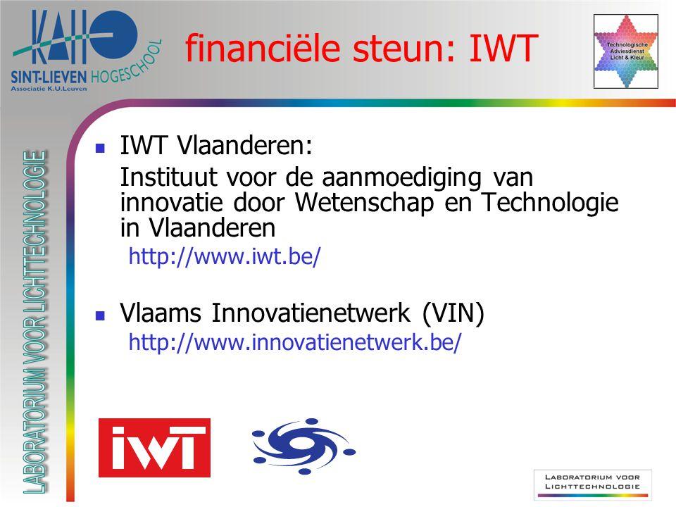 financiële steun: IWT IWT Vlaanderen: Instituut voor de aanmoediging van innovatie door Wetenschap en Technologie in Vlaanderen http://www.iwt.be/ Vlaams Innovatienetwerk (VIN) http://www.innovatienetwerk.be/