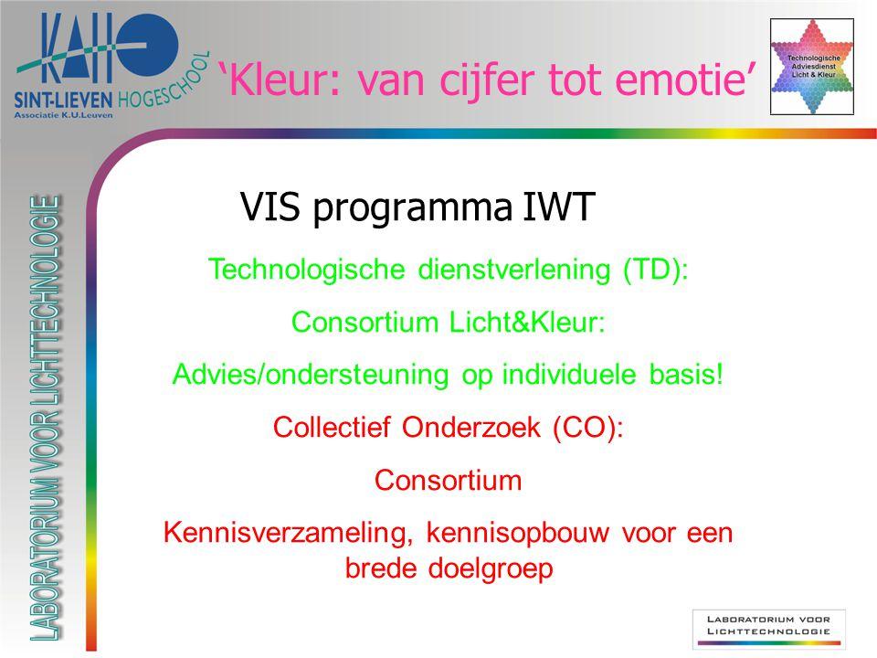 VIS programma IWT Technologische dienstverlening (TD): Consortium Licht&Kleur: Advies/ondersteuning op individuele basis.