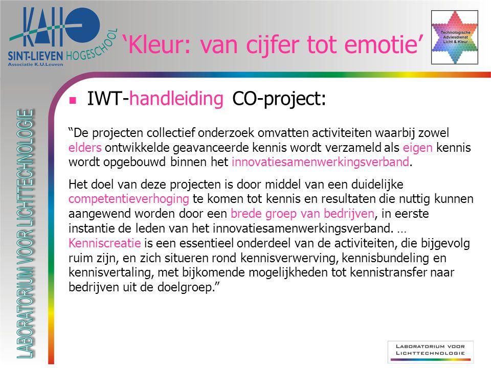 'Kleur: van cijfer tot emotie' IWT-handleiding CO-project: De projecten collectief onderzoek omvatten activiteiten waarbij zowel elders ontwikkelde geavanceerde kennis wordt verzameld als eigen kennis wordt opgebouwd binnen het innovatiesamenwerkingsverband.