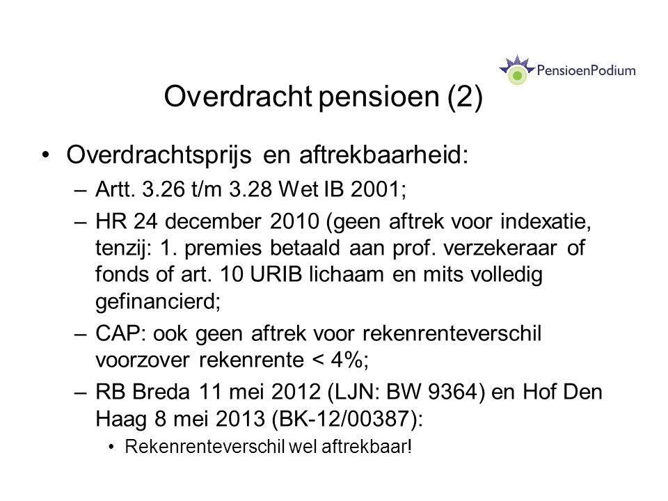 Overdracht pensioen (2) Overdrachtsprijs en aftrekbaarheid: –Artt. 3.26 t/m 3.28 Wet IB 2001; –HR 24 december 2010 (geen aftrek voor indexatie, tenzij