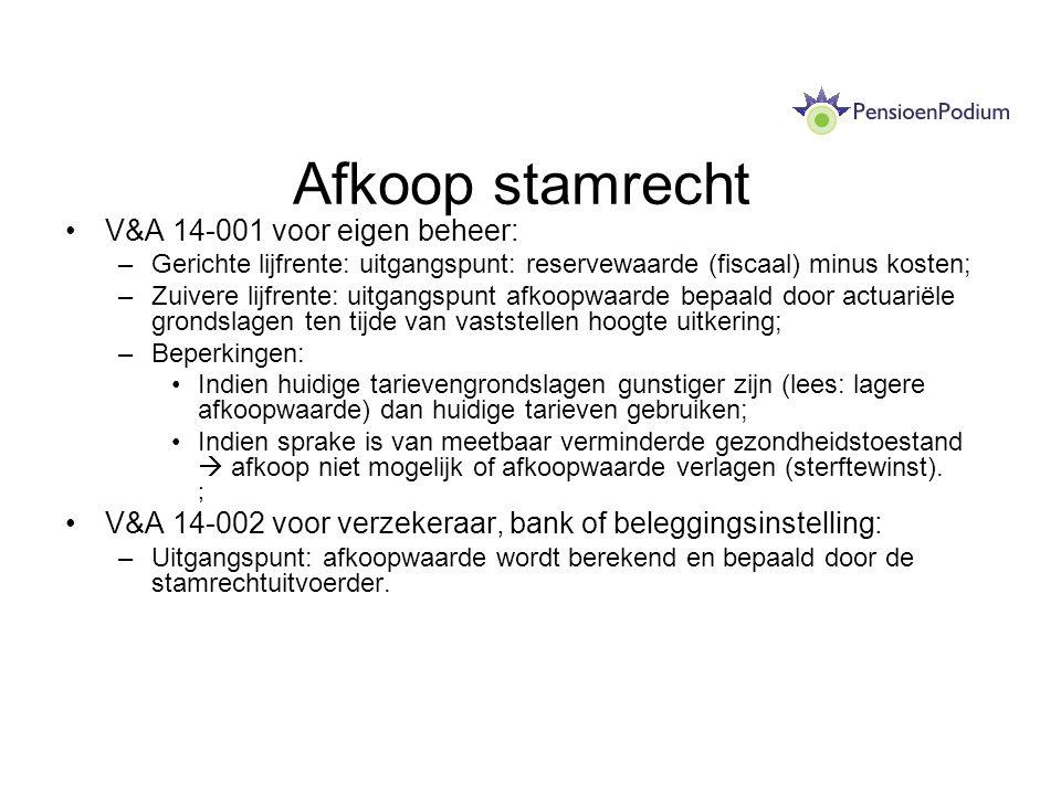 Afkoop stamrecht V&A 14-001 voor eigen beheer: –Gerichte lijfrente: uitgangspunt: reservewaarde (fiscaal) minus kosten; –Zuivere lijfrente: uitgangspu