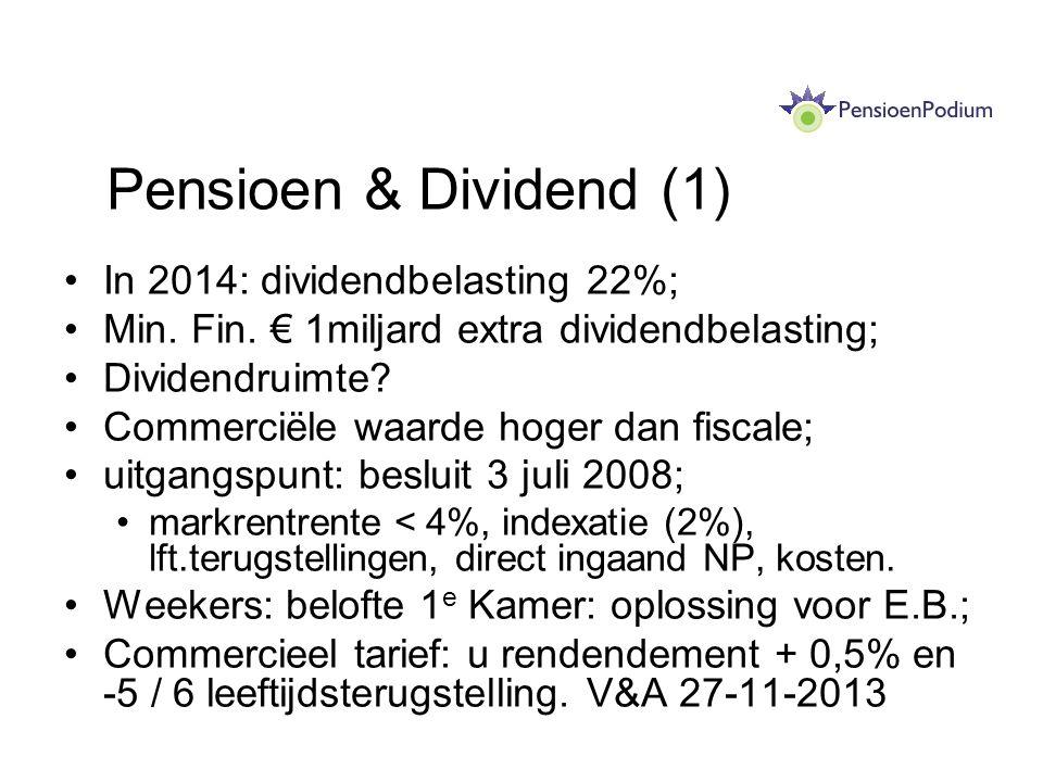 Pensioen & Dividend (1) In 2014: dividendbelasting 22%; Min. Fin. € 1miljard extra dividendbelasting; Dividendruimte? Commerciële waarde hoger dan fis