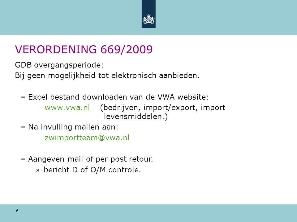 9 VERORDENING 669/2009 GDB overgangsperiode: Bij geen mogelijkheid tot elektronisch aanbieden. Excel bestand downloaden van de VWA website: www.vwa.nl