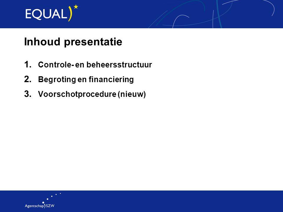 Inhoud presentatie 1. Controle- en beheersstructuur 2. Begroting en financiering 3. Voorschotprocedure (nieuw)