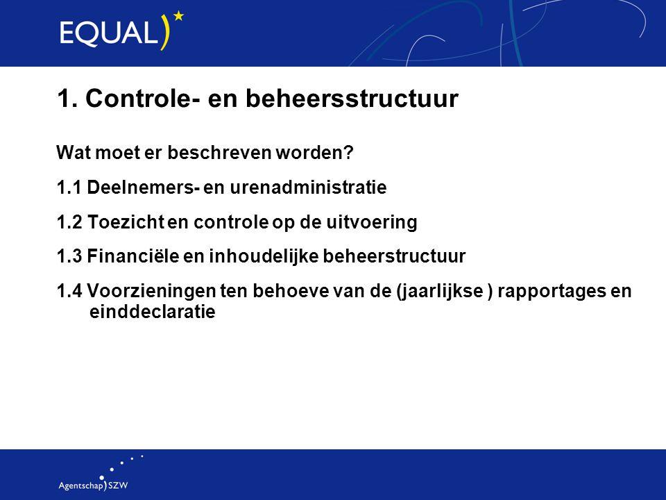 1. Controle- en beheersstructuur Wat moet er beschreven worden? 1.1 Deelnemers- en urenadministratie 1.2 Toezicht en controle op de uitvoering 1.3 Fin