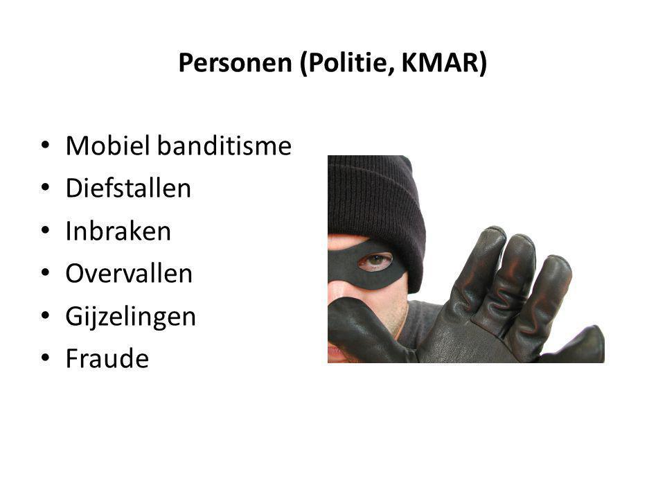 Personen (Politie, KMAR) Mobiel banditisme Diefstallen Inbraken Overvallen Gijzelingen Fraude
