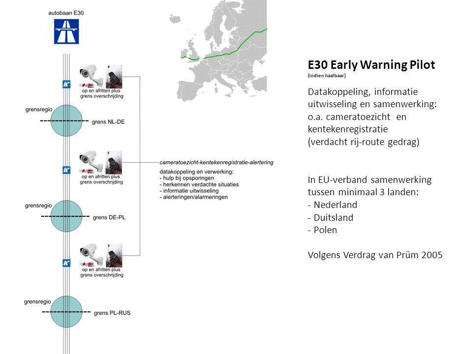 E30 Early Warning Pilot (indien haalbaar) Datakoppeling, informatie uitwisseling en samenwerking: o.a.