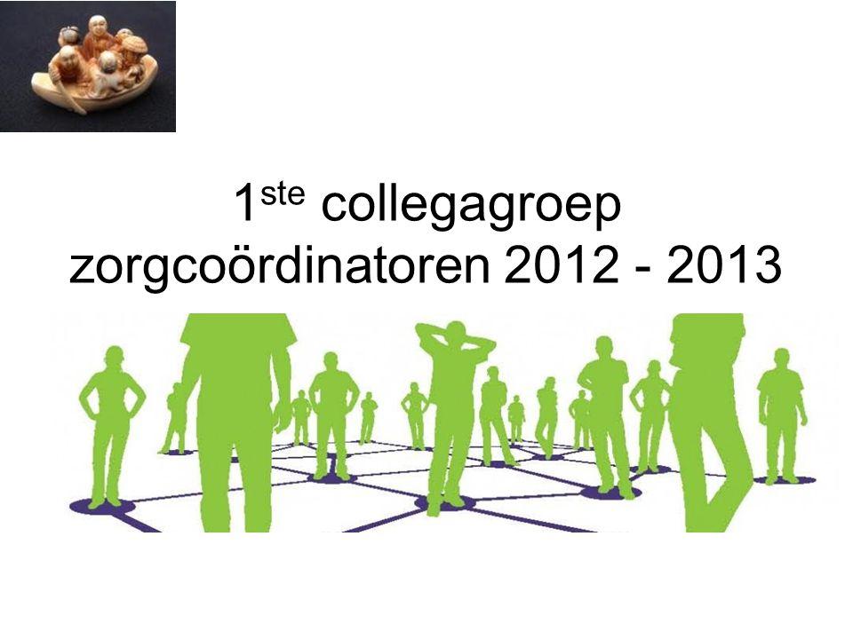 1 ste collegagroep zorgcoördinatoren 2012 - 2013