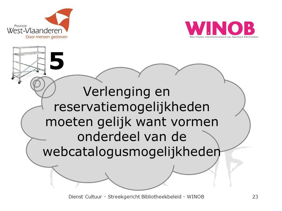 5 Dienst Cultuur - Streekgericht Bibliotheekbeleid - WINOB23 Verlenging en reservatiemogelijkheden moeten gelijk want vormen onderdeel van de webcatalogusmogelijkheden