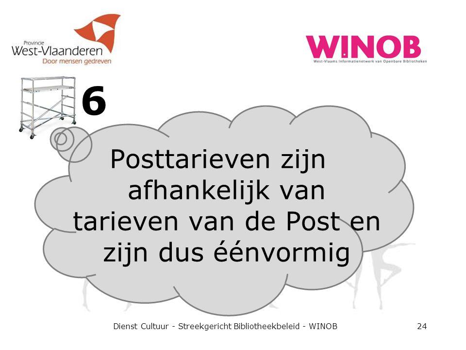 6 Dienst Cultuur - Streekgericht Bibliotheekbeleid - WINOB24 Posttarieven zijn afhankelijk van tarieven van de Post en zijn dus éénvormig