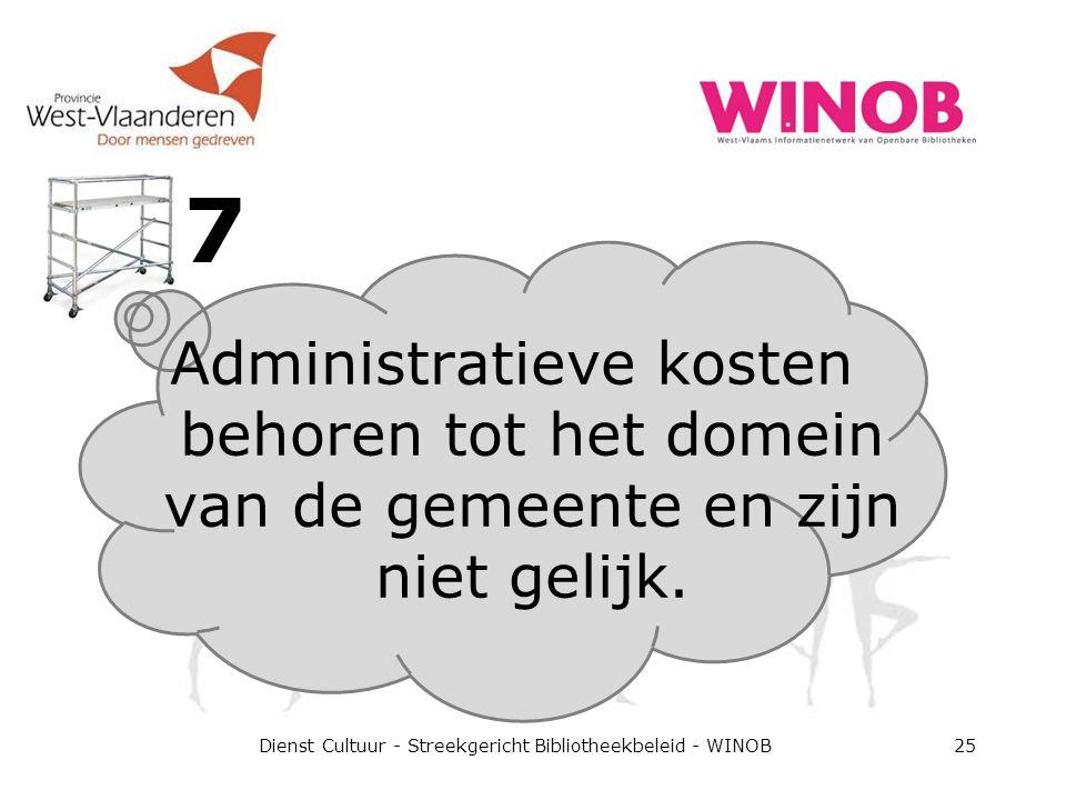 7 Dienst Cultuur - Streekgericht Bibliotheekbeleid - WINOB25 Administratieve kosten behoren tot het domein van de gemeente en zijn niet gelijk.