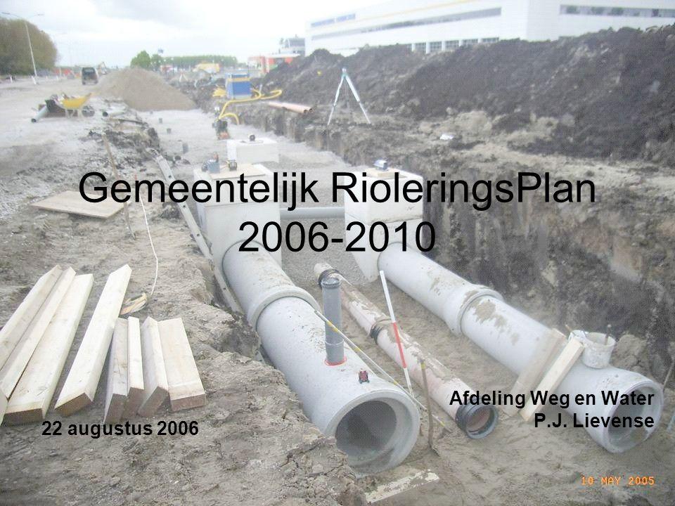 Gemeentelijk RioleringsPlan 2006-2010 Afdeling Weg en Water P.J. Lievense 22 augustus 2006