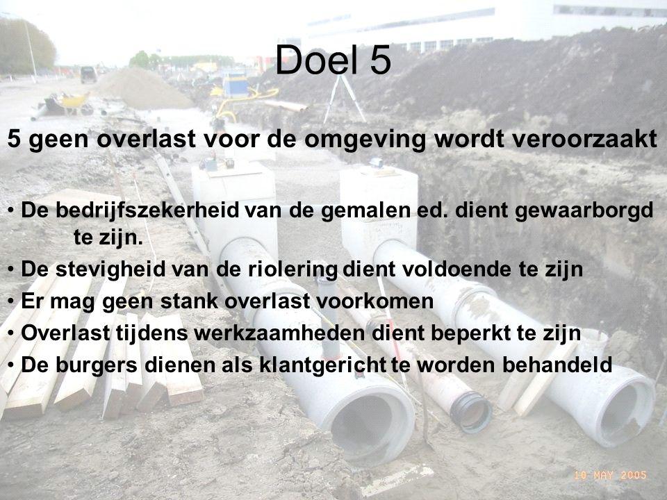 Doel 5 5 geen overlast voor de omgeving wordt veroorzaakt De bedrijfszekerheid van de gemalen ed.