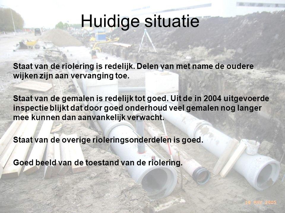 Huidige situatie Staat van de riolering is redelijk.