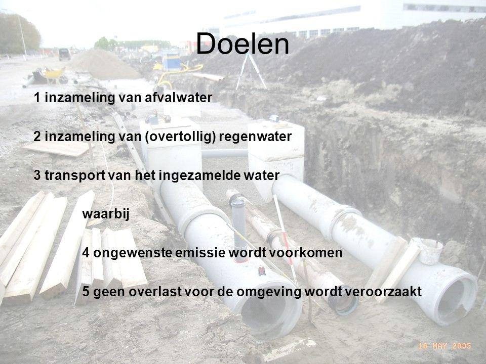 Doelen 1 inzameling van afvalwater 2 inzameling van (overtollig) regenwater 3 transport van het ingezamelde water waarbij 4 ongewenste emissie wordt voorkomen 5 geen overlast voor de omgeving wordt veroorzaakt