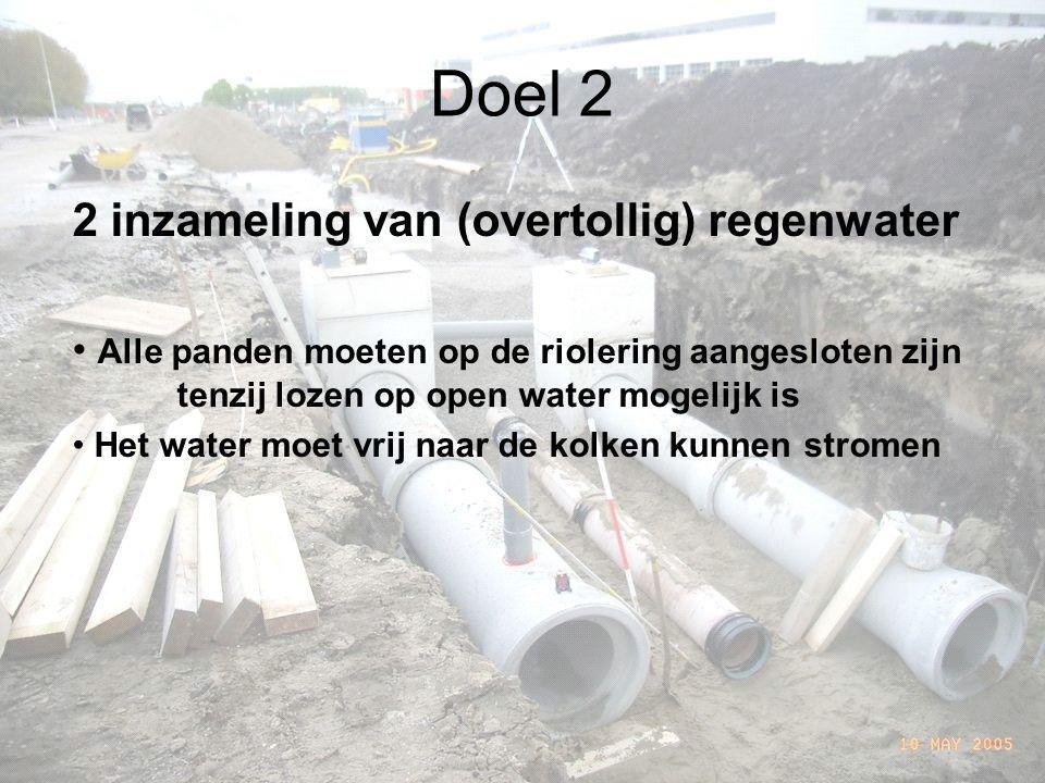 Doel 2 2 inzameling van (overtollig) regenwater Alle panden moeten op de riolering aangesloten zijn tenzij lozen op open water mogelijk is Het water moet vrij naar de kolken kunnen stromen