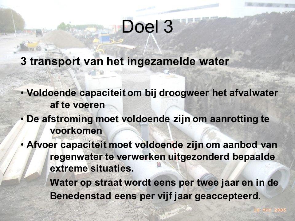 Doel 3 3 transport van het ingezamelde water Voldoende capaciteit om bij droogweer het afvalwater af te voeren De afstroming moet voldoende zijn om aanrotting te voorkomen Afvoer capaciteit moet voldoende zijn om aanbod van regenwater te verwerken uitgezonderd bepaalde extreme situaties.