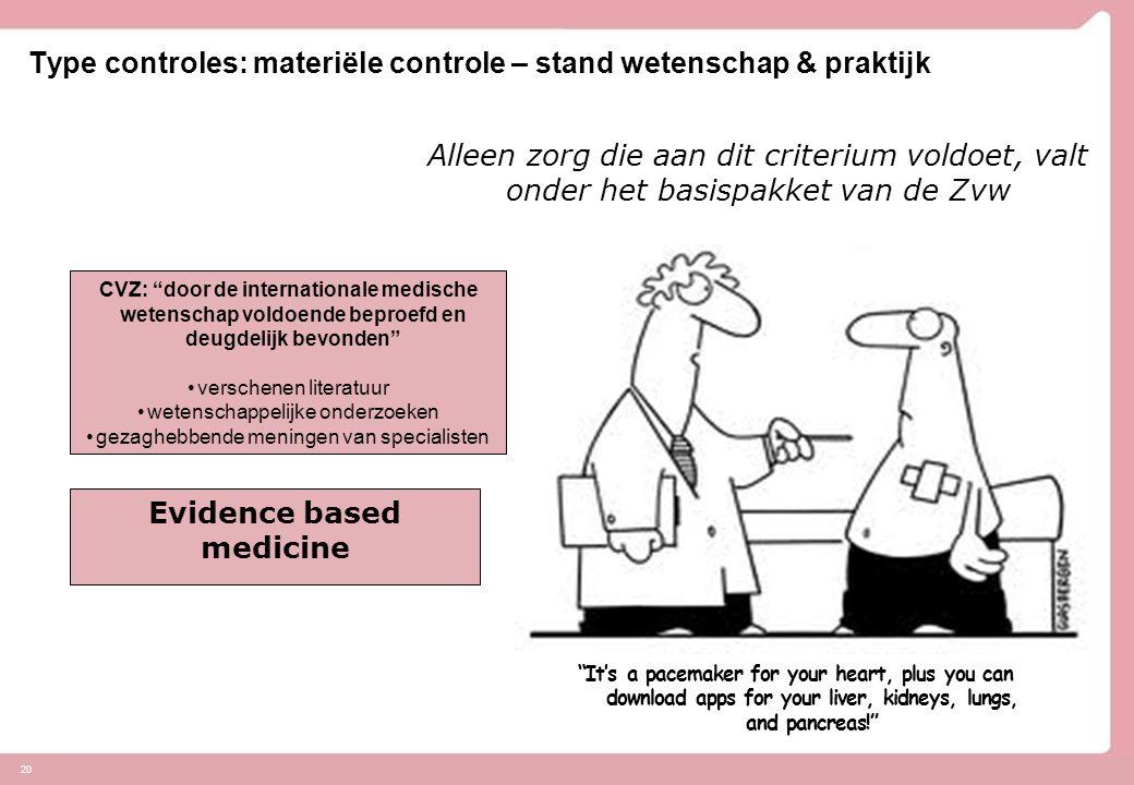 Type controles: materiële controle – stand wetenschap & praktijk 20 Stand van de wetenschap en praktijk: Alleen zorg die aan dit criterium voldoet, va