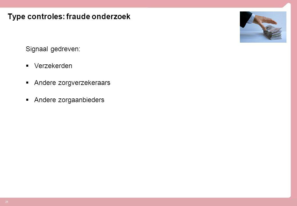 21 Type controles: fraude onderzoek Signaal gedreven:  Verzekerden  Andere zorgverzekeraars  Andere zorgaanbieders