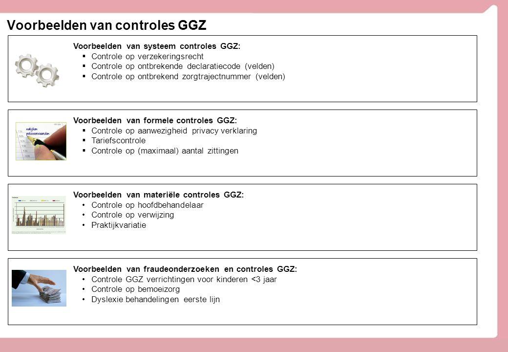 Voorbeelden van controles GGZ Voorbeelden van systeem controles GGZ:  Controle op verzekeringsrecht  Controle op ontbrekende declaratiecode (velden)