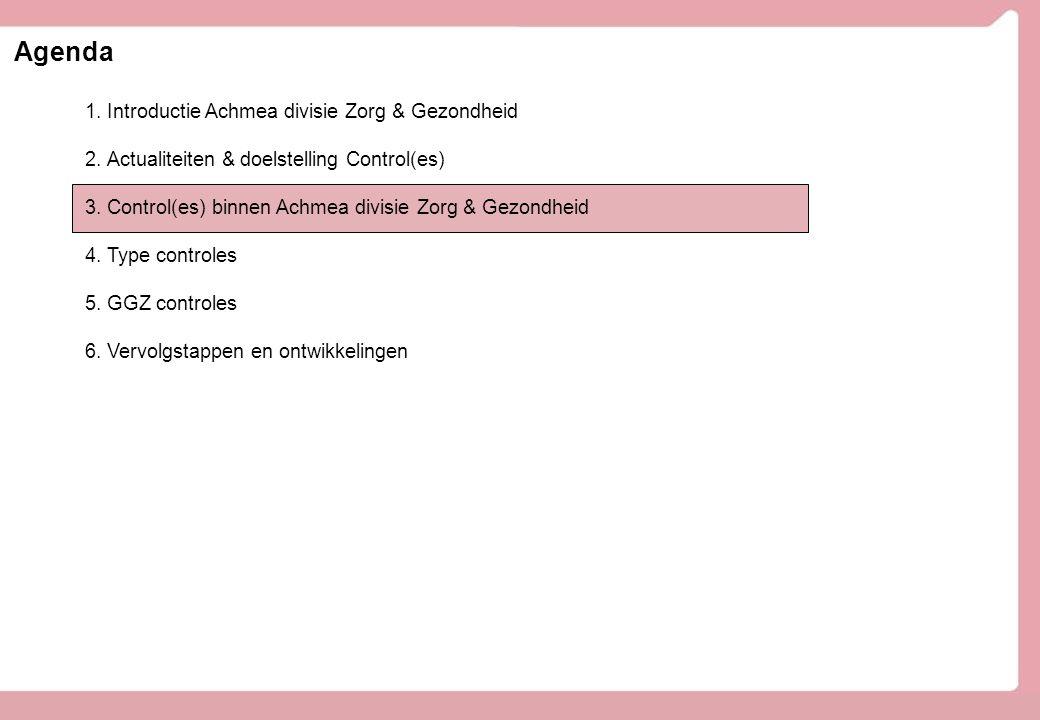 Agenda 1.Introductie Achmea divisie Zorg & Gezondheid 2.Actualiteiten & doelstelling Control(es) 3.Control(es) binnen Achmea divisie Zorg & Gezondheid