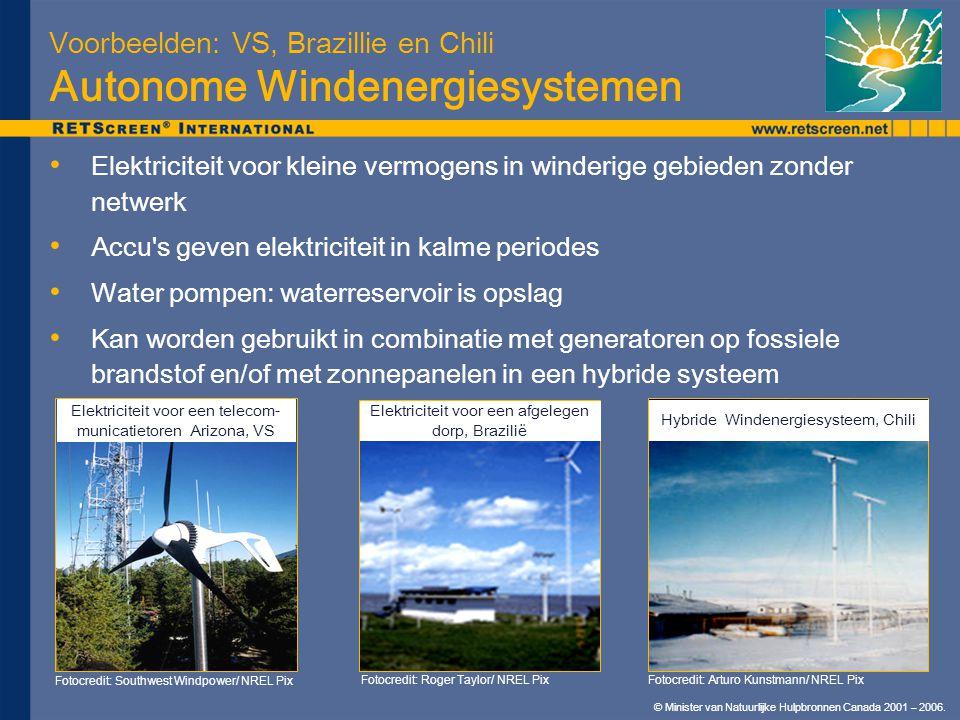 © Minister van Natuurlijke Hulpbronnen Canada 2001 – 2006. Voorbeelden: VS, Brazillie en Chili Autonome Windenergiesystemen Elektriciteit voor kleine
