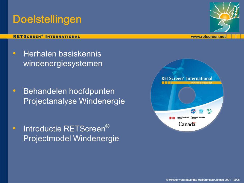 © Minister van Natuurlijke Hulpbronnen Canada 2001 – 2006. Herhalen basiskennis windenergiesystemen Behandelen hoofdpunten Projectanalyse Windenergie