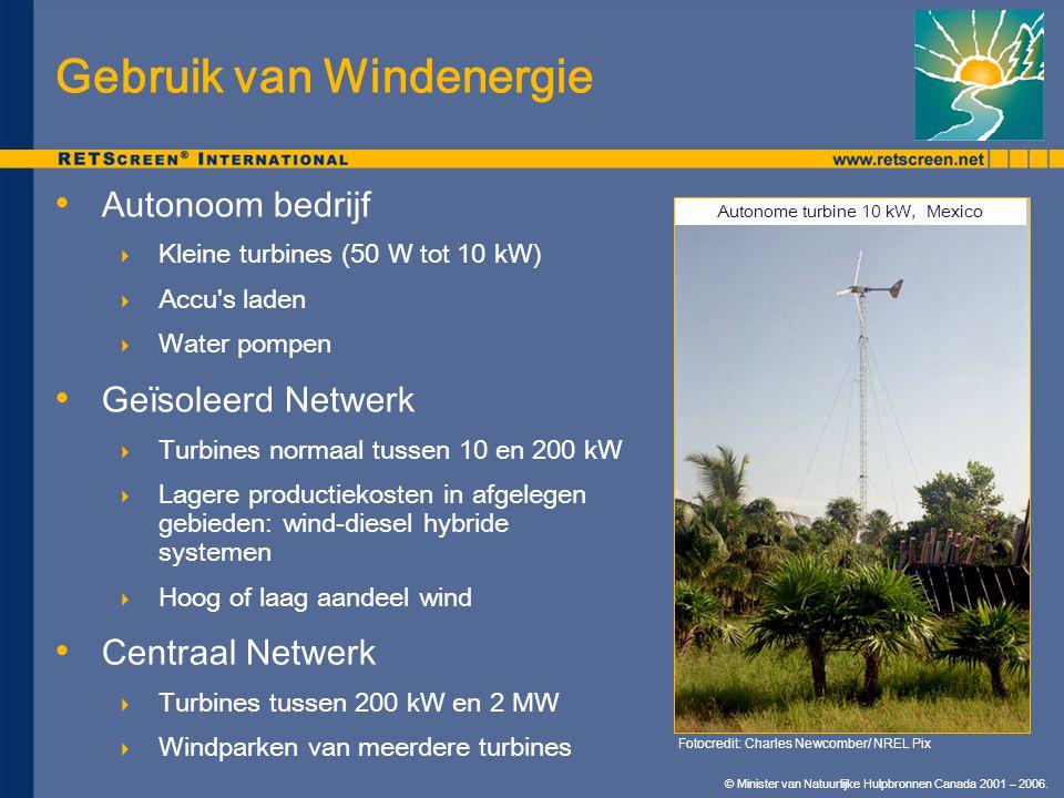 © Minister van Natuurlijke Hulpbronnen Canada 2001 – 2006. Gebruik van Windenergie Autonoom bedrijf  Kleine turbines (50 W tot 10 kW)  Accu's laden