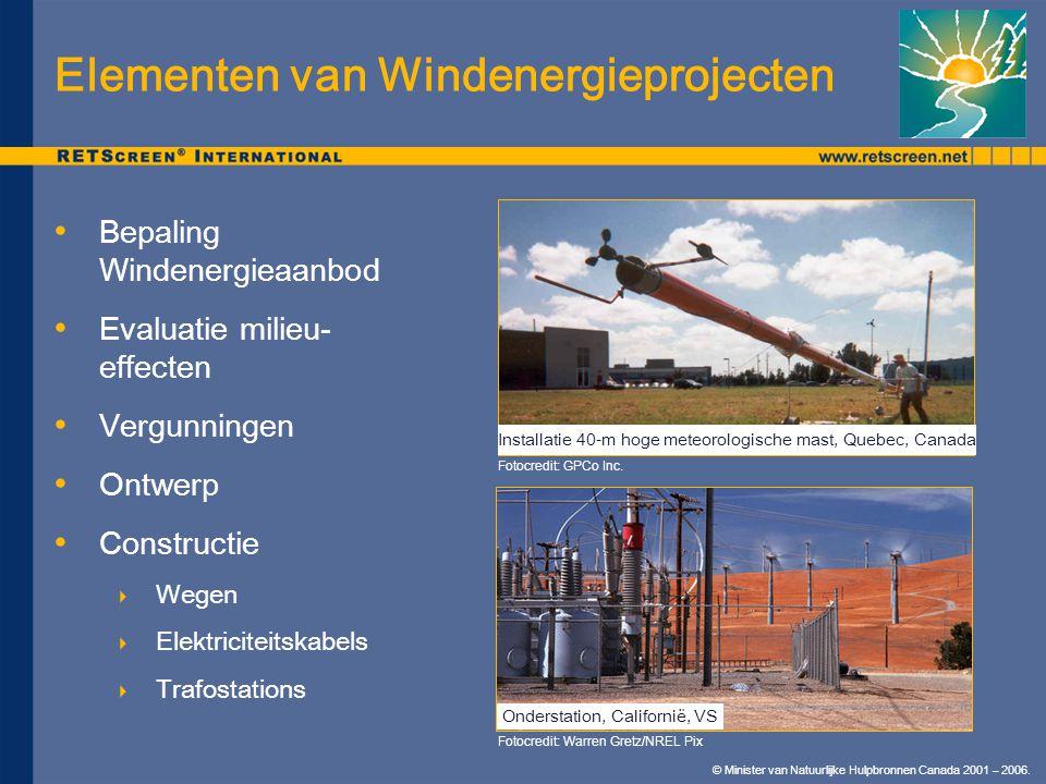 © Minister van Natuurlijke Hulpbronnen Canada 2001 – 2006. Elementen van Windenergieprojecten Bepaling Windenergieaanbod Evaluatie milieu- effecten Ve