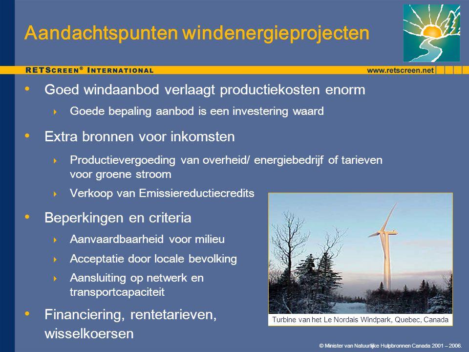 © Minister van Natuurlijke Hulpbronnen Canada 2001 – 2006. Aandachtspunten windenergieprojecten Beperkingen en criteria  Aanvaardbaarheid voor milieu