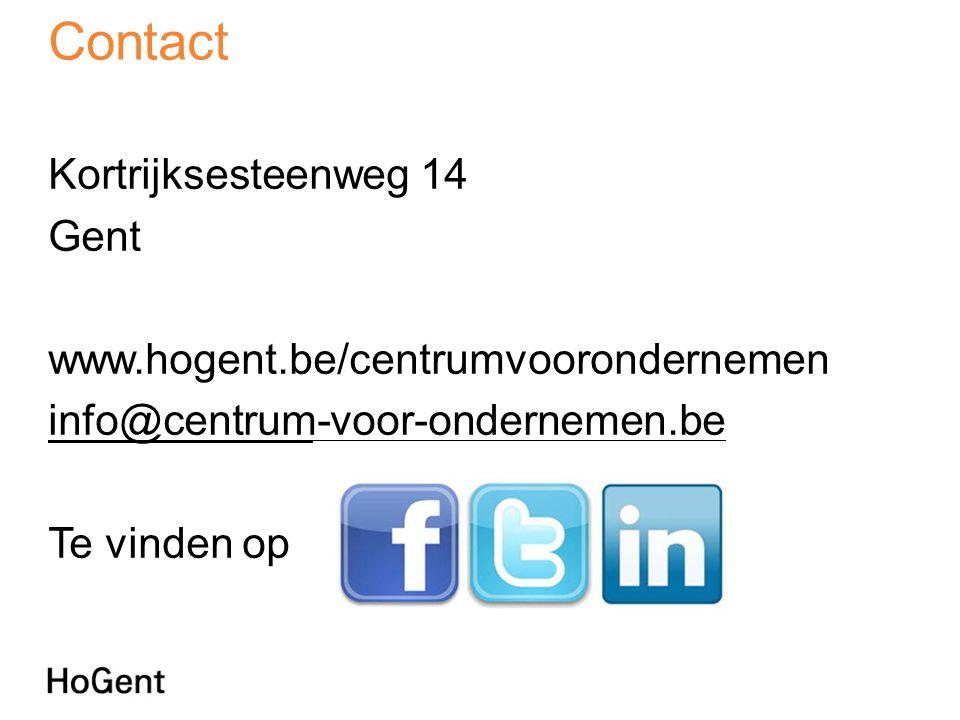 Contact Kortrijksesteenweg 14 Gent www.hogent.be/centrumvoorondernemen info@centrum-voor-ondernemen.be Te vinden op